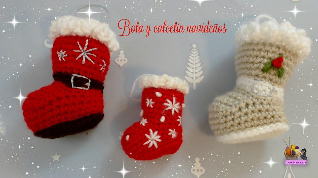 Bota o calcet n de crochet para adornar en navidad - Adornos navidenos ganchillo patrones ...