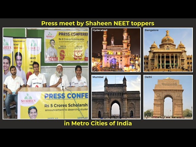 Press Conference by Shaheen NEET toppers Karthik Reddy, Arbaaz Ahmed & Md Anas in Metros of India