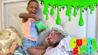 Greedy Granny Gets Slimed For Eating All The Snacks