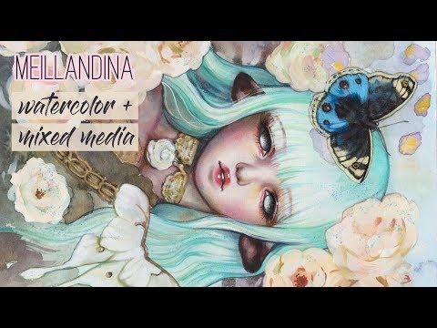 Meillandina // WATERCOLOR + MIXED MEDIA