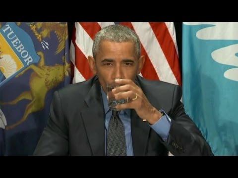 Obama drinks Flint water