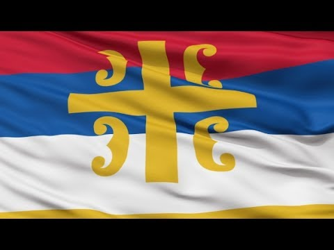 serbian orthodox church religious waving flag stock