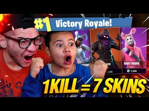 1 KILL = 7 FREE SKINS FOR MY 9 YEAR OLD LITTLE BROTHER! 9 YEAR OLD PLAYS SOLO FORTNITE BATTLE ROYALE