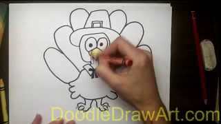 Drawing: How To Draw a Turkey in a Pilgrim Hat
