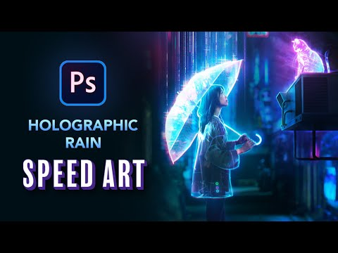 Creating HOLOGRAPHIC RAIN In Photoshop - NFT Speed Art