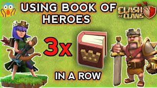 Using 3 Book Of Heroes To Upgrade Heroes In A Row 😱||Clash Of Clans. 😁