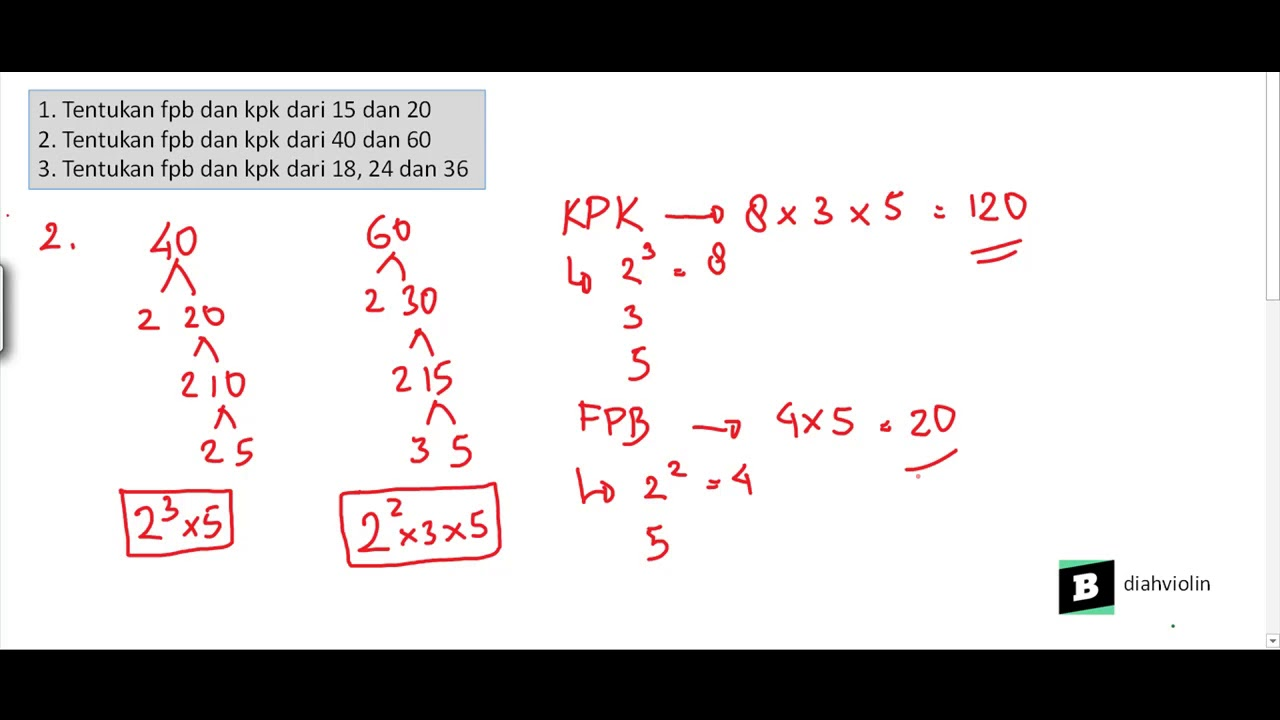 FPB dari a) 15 dan 20. b) 40 dan 60. c) 18, 24, dan 36 ...