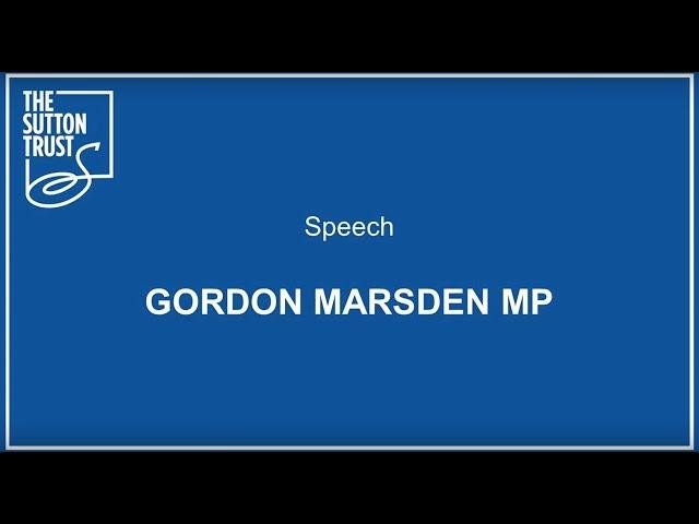 Speech Gordon Marsden MP #BetterApprenticeships