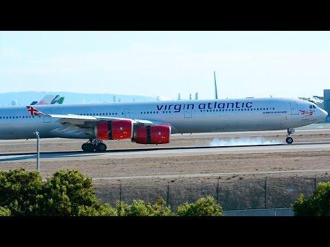 Virgin Atlantic Airbus A340-600 [G-VWKD] Landing at LAX.