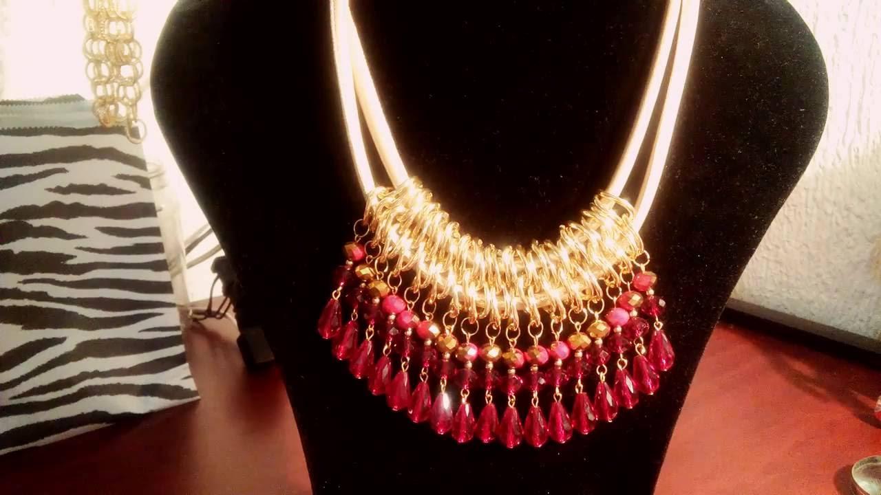 47d26c752993 Collar tipo babero en cadenas - YouTube