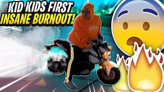 KIDS FIRST BURNOUT ON THE GROM ! ( EPIC ) | BRAAP VLOGS
