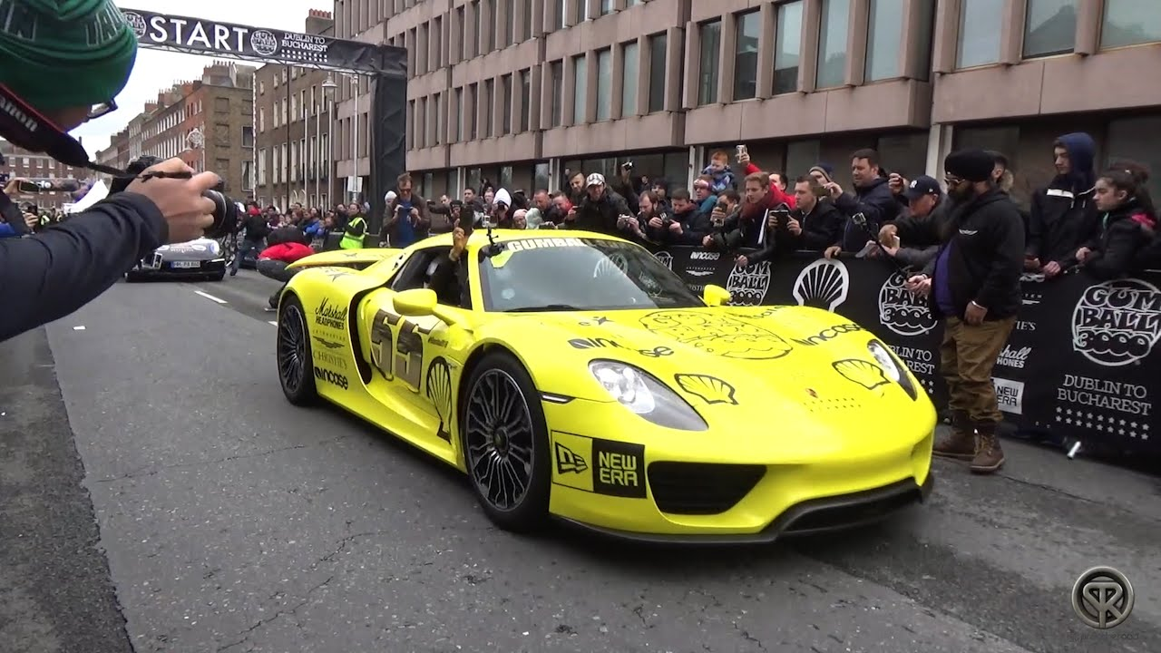 porsche 918 spyder banana car at 2016 gumball 3000 youtube. Black Bedroom Furniture Sets. Home Design Ideas