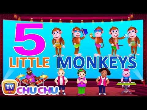 Five Little Monkeys Jumping On The Bed - Nursery Rhymes Karaoke Songs | ChuChu TV Rock 'n' Roll