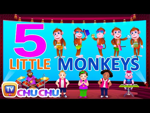 Five Little Monkeys Jumping On The Bed - Nursery Rhymes Karaoke Songs   ChuChu TV Rock 'n' Roll