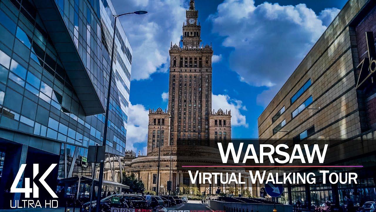 【4K 60fps】VIRTUAL WALKING TOUR: 🚶 «Warsaw - Poland 2021» 🎧 Binaural Sounds 📺 Ultra HD (2160p TV)