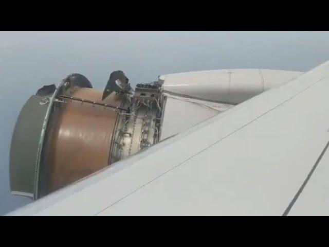 Pesadilla en un vuelo a Hawai al quedar el motor al descubierto