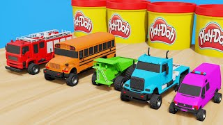 Colors Shapes & Numbers learning video for Kids with Monster Street Trucks Playdoh Jars
