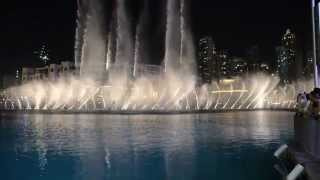 Dubai Fountain 2015 filmed from At the Top and Dubai Mall