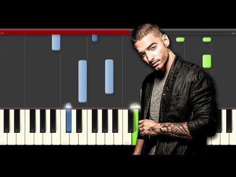Maluma Felices los 4 piano midi tutorial sheet partitura cover app karaoke Marc Anthony