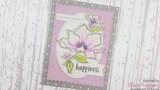 Lavender & Gray Floral Wedding Card with Zig Markers & Elizabeth Craft Designs