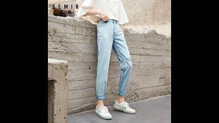 Женские повседневные джинсы semir модные с высокой талией в уличном стиле лето 2020 на Aliexpress