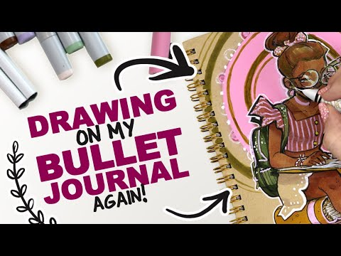 DRAWING ON MY BULLET JOURNAL! ...again!   Copic Markers + Acrylic Paint