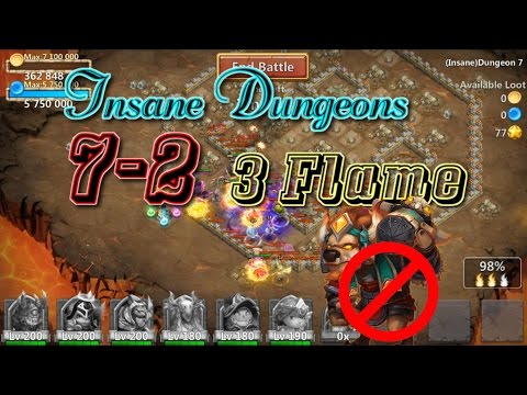 Castle Clash Insane Dungeon 7-2 3flame_ Without Mino
