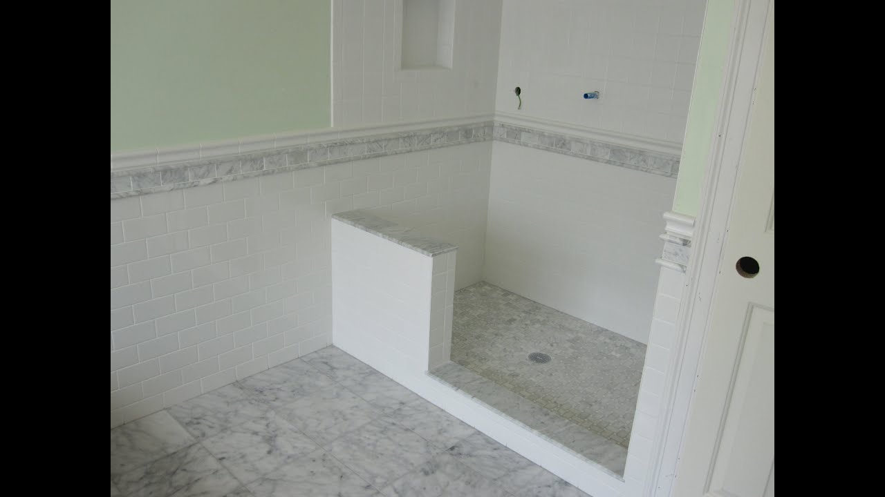 Marble and Subway tile master bathroom - YouTube