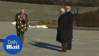 President Trump and VP Pence lay a wreath honoring MLK Memorial