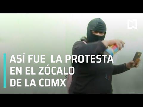 Así fue la protesta de feministas en el Zócalo - En Punto