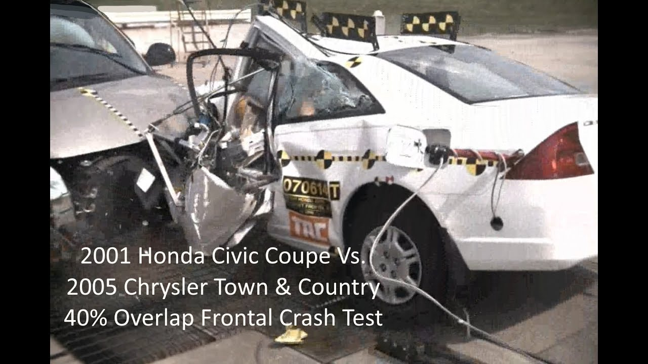 Town And Country Honda >> 2001 Honda Civic Coupe Vs 2005 Chrysler Town Country Moderate Overlap Crash Test