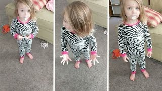 Sassy Toddler Claims Paint Mess Is Not Her Fault