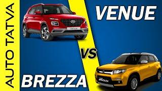 Hyundai Venue vs Brezza   Comparison   Best Compact SUV ?   Hindi   Auto Tatva
