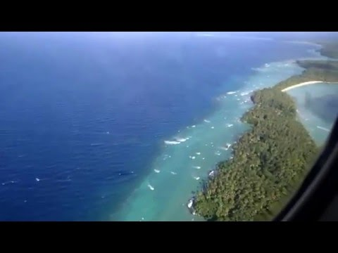 Landing to Airok airport, Ailinglaplap atoll in Republic of the Marshall Islands