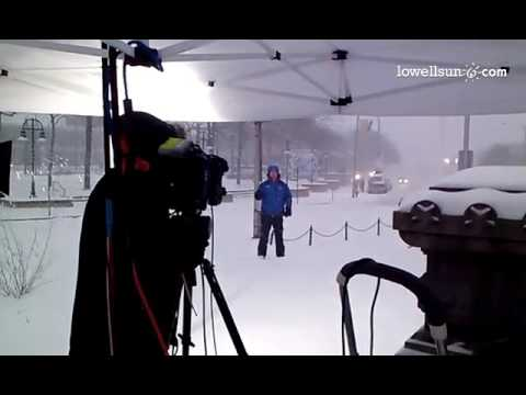 Weather Channel's Mike Sleidel doing a live spot from Lowell.  #Storm2014
