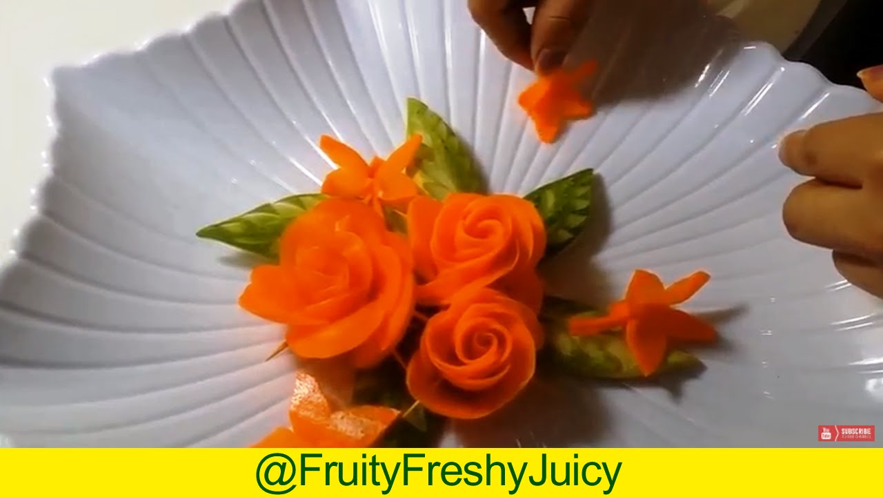 The Art of Vegetable & Fruit Carving - Ideas To Carve Carrot & Cucumber