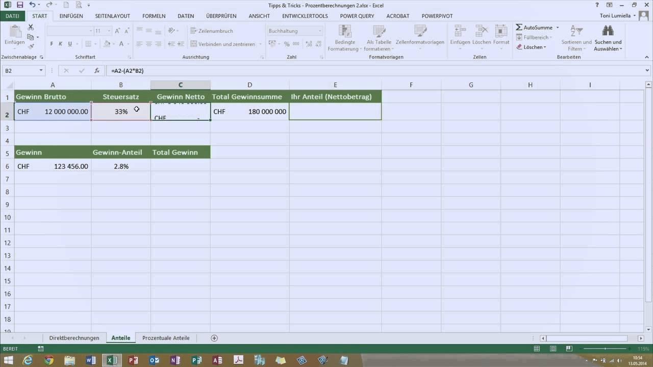 Digicomp Tipps Tricks Prozentrechnen Mit Excel 2013 Youtube