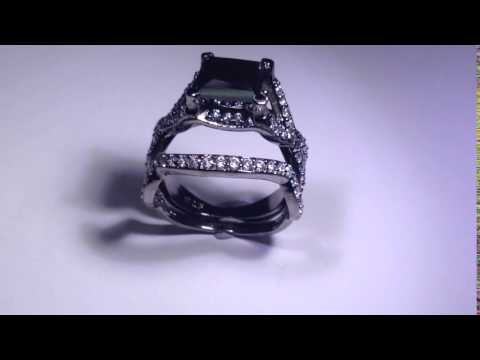 black moissanite with simulated diamond engagement ring 1