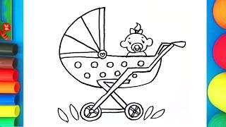 How to draw a pram with a baby - Pushchair coloring page