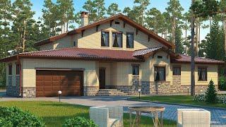 Проект дома в стиле Шале. Дом с бассейном, сауной, гаражом и террасой. Ремстройсервис М-167