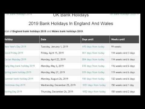 UK Bank Holidays 2017, 2018, 2019, 2020