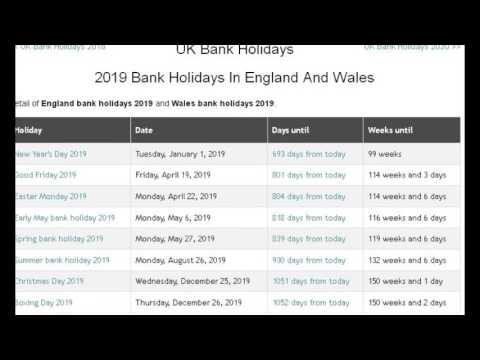 UK Bank Holidays 2017, 2018, 2019, 2020