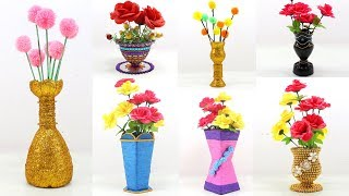 7 EASY...!!! HOMEMADE FLOWERS VASE from Out of WASTE THINGS