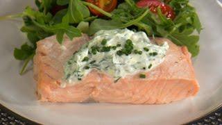 poached salmon with dijon dill sauce