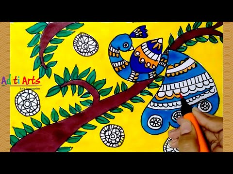 Madhubani Art | Madhubani Drawing |  Madhubani Art for Kids | Madhubani Painting