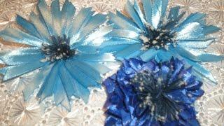 Василек полевой из атласной ленты, два варианта. Для начинающих. /. /Ribbon Flower / DIY Kanzashi