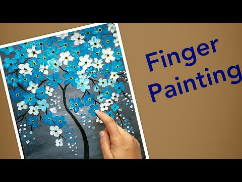 Finger Painting- Easy beginner Cherry blossom Tree Painting Tutorial