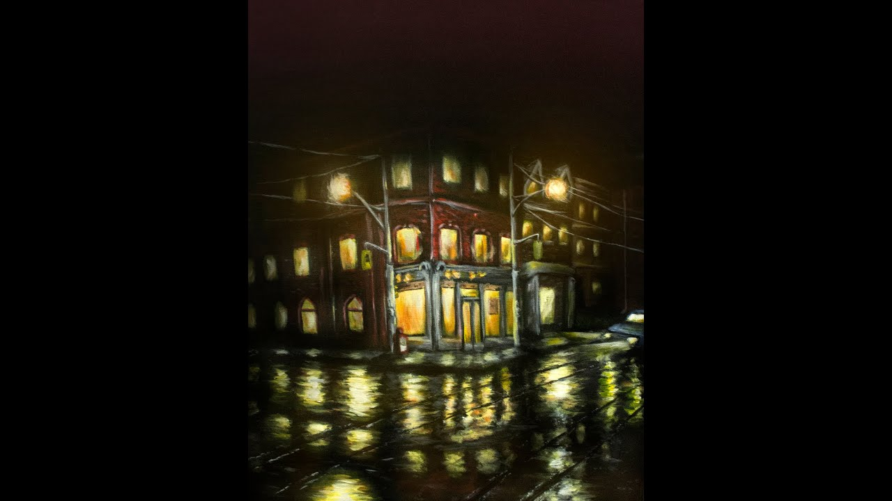 Street Light At Night Painting How To Paint Reflections Acrylic Light Reflections On A