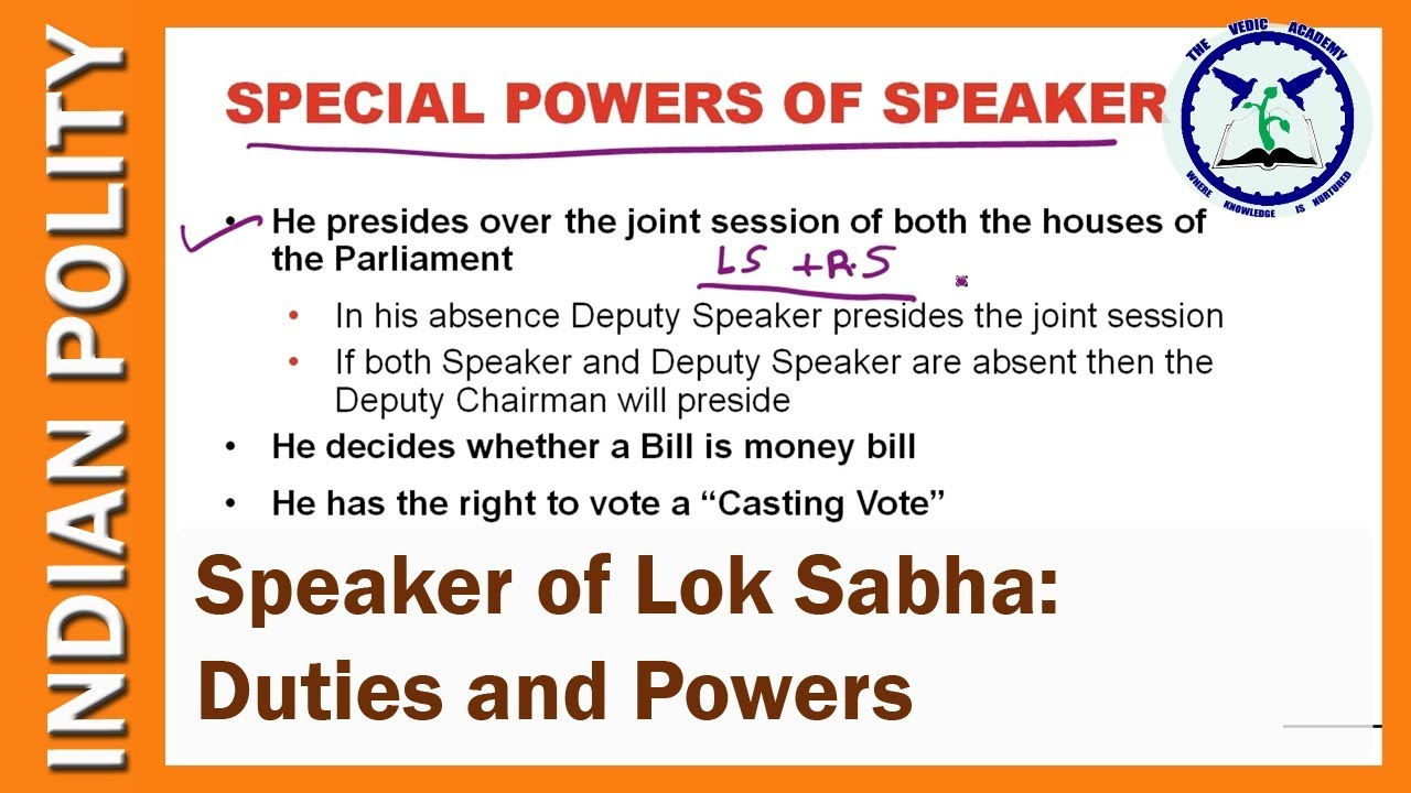 Speaker of Lok Sabha: Powers and Duties  Indian Polity  SSC CGL  by TVA