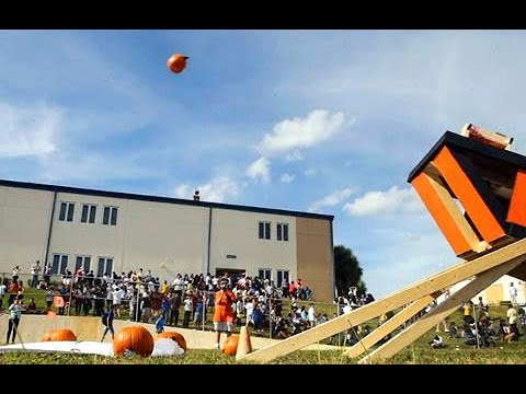 Pumpkin chunkin' for science at Conniston Middle School